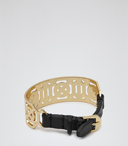 Nisa Gold Laser Cut Metal Cuff - REISS