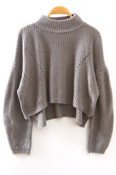 Sweater grey turtleneck cropped oversized knit winter outfits fall outfits oversized ...