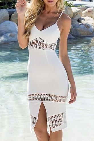 dress beautiful halo white lace dress white lace dress midi dress bodycon dress style spaghetti strap fashion summer crochet boho dress girly