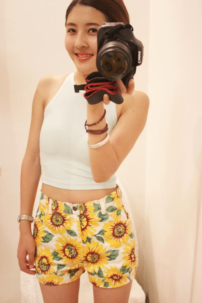 Lady Sunflower Print Denim High Waist Shorts Hot Pant US Size 0 2 4 6 8 10 AA080 | eBay