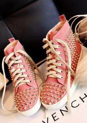 shoes,pink,spiked shoes,pink sneakers,givenchy,studded shoes,pink shoes,high tops,studs,high top sneakers,sneakers,converse,cute,loveem,belt