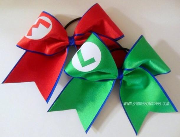 Jewels mario luigi bff love this tbh i love this cute cheerleading cheerleading - Cute cheer bows ...