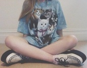 t-shirt,shirt,vintage shirt,cats,cat shirt,hipster shirt,long shirt,shirt dress,unholy cats,unholy cross,unholy,washed,pastle goth,grunge,punk,cats jumper,tumblr shirt,cute shirt,top,blue,pale grunge,soft grunge,pastel grunge,kitties,pastel,soft,pale,aesthetic,cats t-shirt,kawaii,cute,fashion,grunge t-shirt,shoes,cat tshirts,cat tshirt