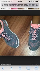 shoes,niketrfit3,trainers,nike,cheetah laces,nike air force,air max,90,grey,nike grey and pink with. leopard laces,nike running shoes,nike shoes,nike shoes womens roshe runs,nike free run,cheetah print shoes,nike sneakers,grey sneakers,low top sneakers,nike pink and grey with cheetah laces,cheetah show laces