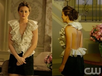 blouse gossip girl ruffles ruffled top high neck high neck top blair waldorf