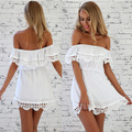 Online shop 2015 spring new fashion women off shoulder strapless sweet lace stitching tunic dress slash neck mini white black dresses