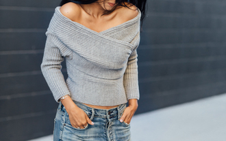 sweater off the shoulder grey sweater knitted sweater off the shoulder sweater