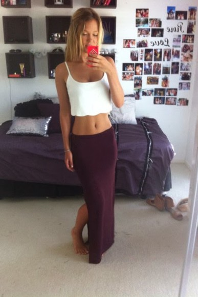 crop tops skirt white shirt long hair blond hair long skirt burgundy blouse