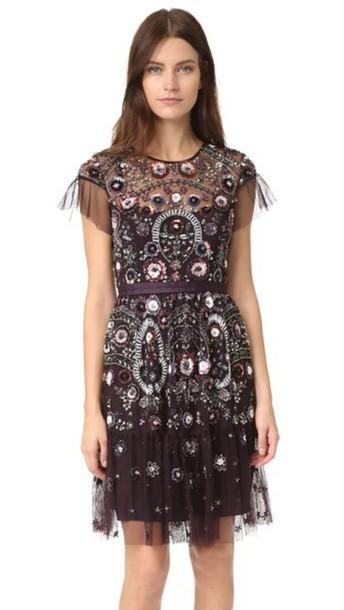 Needle & Thread Enchanted Lace Dress - Aubergine