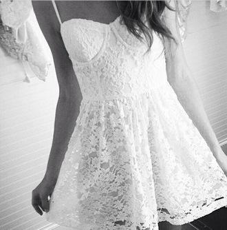 dress lace dress white dress girly corset dress basic summer dress short dress mini dress