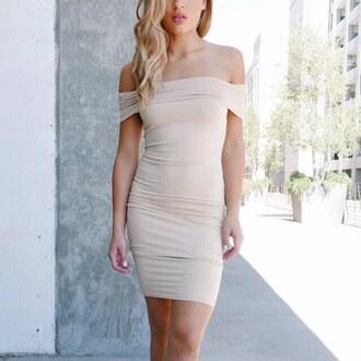 dress off the shoulder dress off the shoulder shoulder nude dress beige dress taupe taupe dress bodycon dress bodycon vegas ootn gojane
