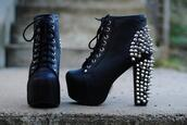 shoes,clothes,heels,studs,studded,black,platform shoes,jeffrey campbell,spiked shoes,boots,little black boots,black high heels,jeffrey campbell lita,beautiful,chunky boots