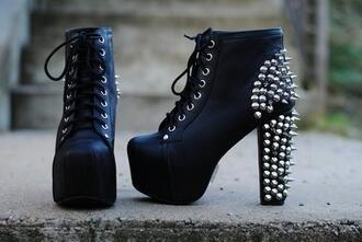 shoes clothes heels studs studded black platform shoes jeffrey campbell spiked shoes boots little black boots black high heels jeffrey campbell lita beautiful chunky boots