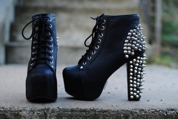 shoes clothes heels studs studded black platform shoes jeffrey campbell jeffrey campbell spiked shoes boots little black boots black high heels jeffrey campbell lita beautiful chunky boots