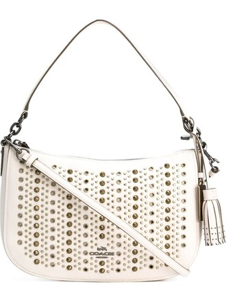 studded women bag shoulder bag white
