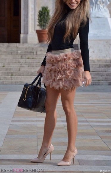 skirt cute spring fluffy puffy blush