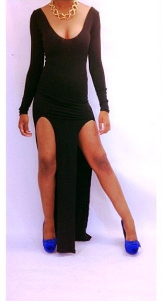 Super high slit black maxi dress · trendyish · online store powered by storenvy