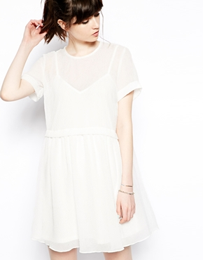 ASOS | ASOS Smock Dress In Sheer Texture at ASOS