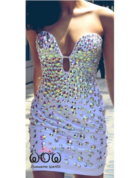 prom crystal white dress dress date mermaid evening summer outfits