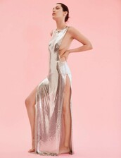 dress,metallic,silver,gown,prom dress,model,bella hadid,editorial,slit dress,sexy,long prom dress,sexy dress,backless dress
