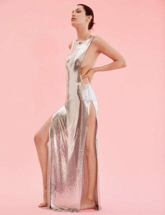 dress metallic silver gown prom dress model bella hadid editorial slit dress sexy long prom dress sexy dress backless dress