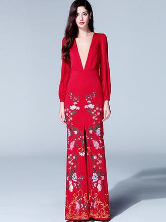 dress plunge v neck thigh high slit print floral