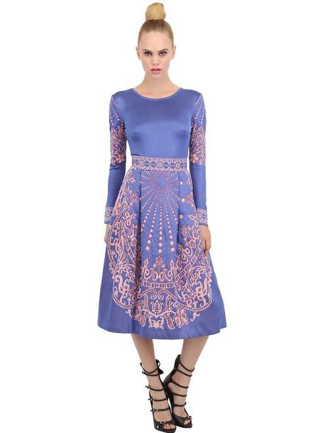 EKATERINA KUKHAREVA Jacquard Dress With Full Skirt in pink / purple