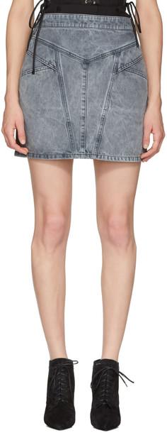 Givenchy Grey Denim Lightning Miniskirt