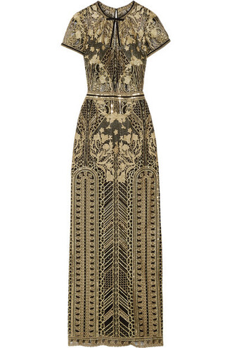 gown embroidered embellished gold dress