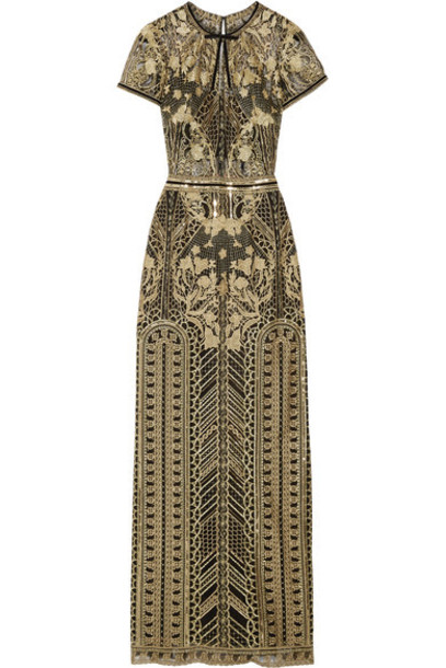 Marchesa Notte gown embroidered embellished gold dress