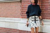 skirt,zip-up skirt,mini skirt,man repeller,blogger,sweater,black sweater,fall outfits,stacked bracelets,bracelets,back to school,zipped skirt,lace skirt,denim skirt,stacked jewelry,heavy knit jumper