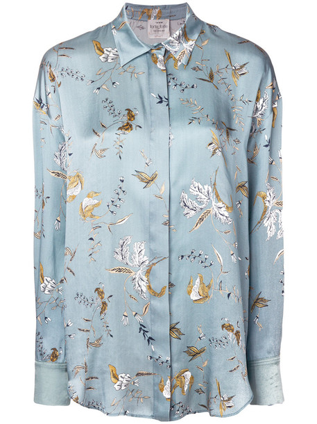 Forte Forte - floral print shirt - women - Silk/Cupro/Viscose - 0, Blue, Silk/Cupro/Viscose
