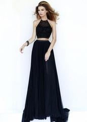 dress,black,blue,prom,dark,beautiful,high neck,lace,lace dress,long prom dress,prom dress,two-piece,fashion,style,v neck dress,halter neck,bag