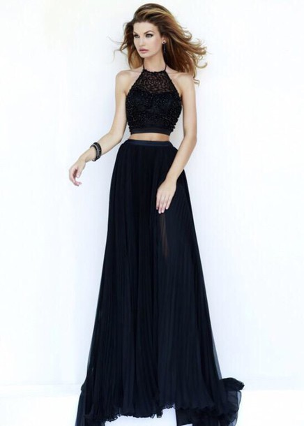 dress black blue dress prom dark beautiful high neck lace lace dress long prom  dress prom 1dff9bf45