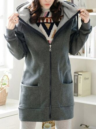 cardigan warm cozy grey hoodie long sleeves fleece zip pockets winter sweater long top cool