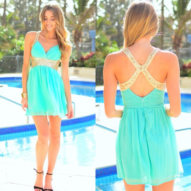 Dress: mint, mint dress, maxi dress, prom dress, cute dress ...