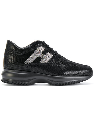 women embellished sneakers leather black shoes