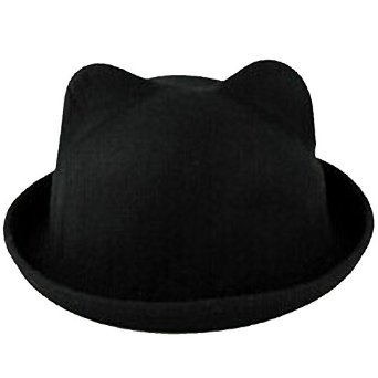 eYourlife2012 Women's Candy Color Wool Rool Up Bowler Derby Cap Cat Ear Hat (Black) at Amazon Women's Clothing store: