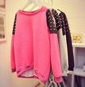 sweater,spikes,sweatshirt,spike,studded,spiked,black sweater,studs