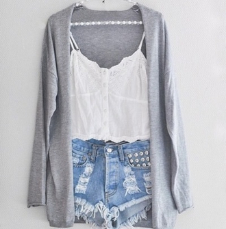 shorts cardigan blouse sweater jacket top tank top high waisted shorts cute white studs grey denim shorts ripped shorts lace top bohemian shirt summer high waisted tumblr shorts spring
