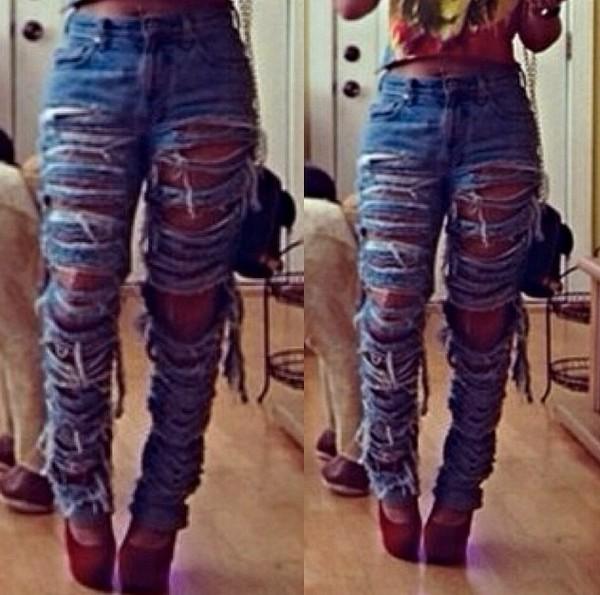 jeans sliced slit baggy jeans destroyed skinny jeans