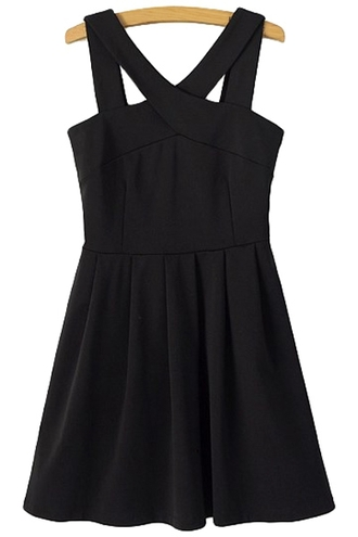 dress black dress mini black dress mini dress criss cross summer outfits summer black little black dress zaful skater dress kawaii tumbl