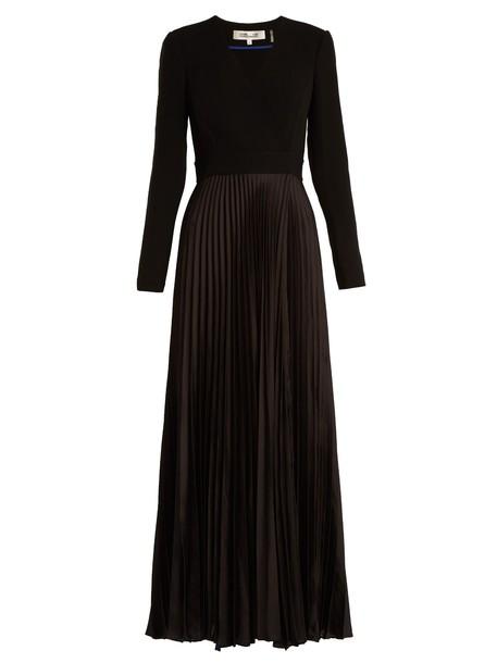Diane Von Furstenberg dress satin dress pleated satin black