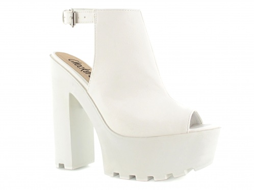 White slingback cleated sole sandal