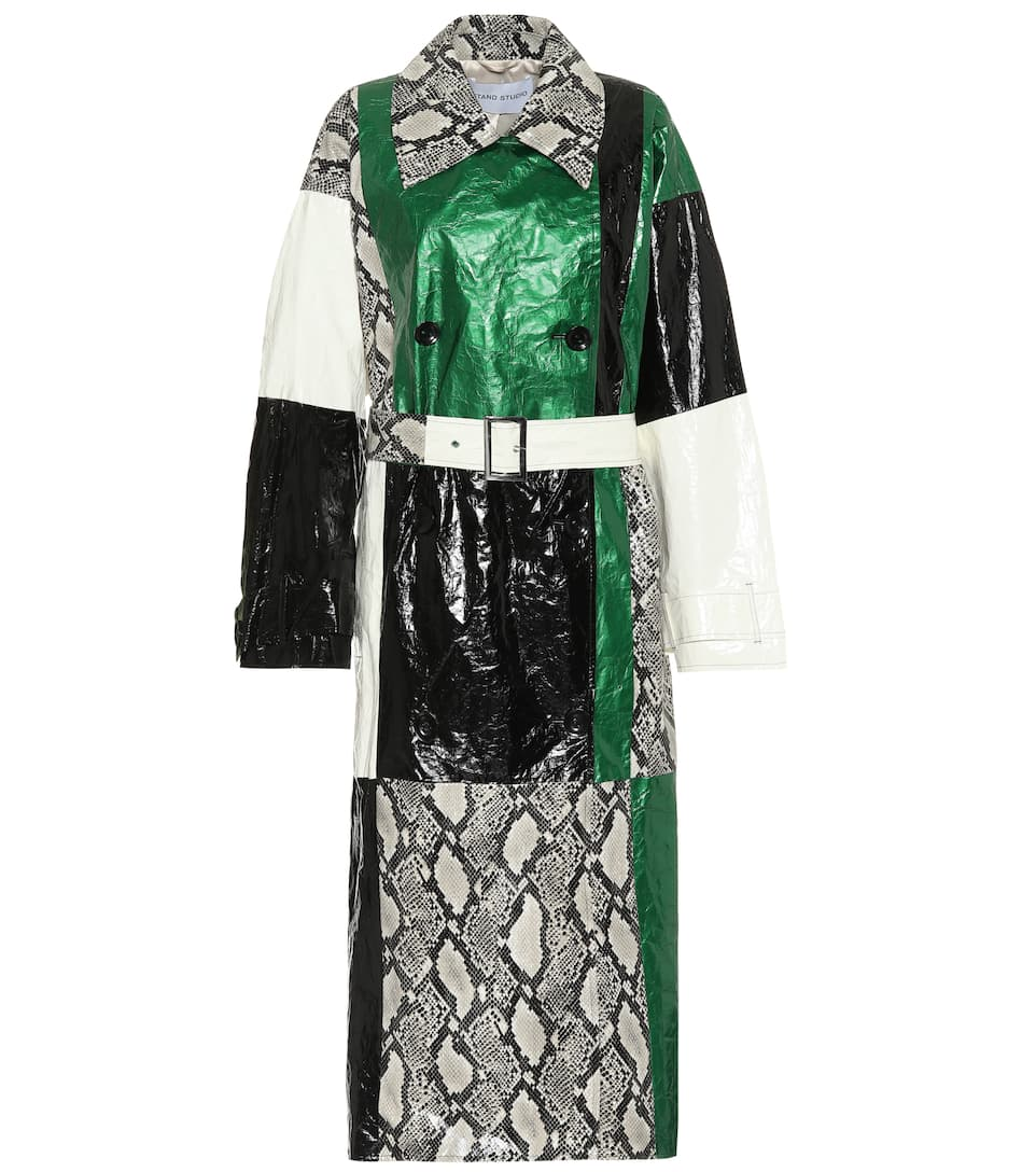 Eliora snake-effect trench coat