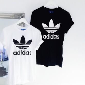 top adidas white black t-shirt