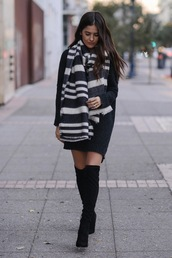 shoes,black dress,black and white striped scarf,black knee high boots,blogger