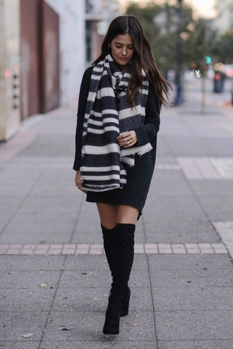 shoes black dress black and white striped scarf black knee high boots blogger
