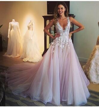 dress long prom dress v-neck prom dress a-line prom dress tulle prom dress prom dress with appliques evening dress graduation dress wedding dress prom dress