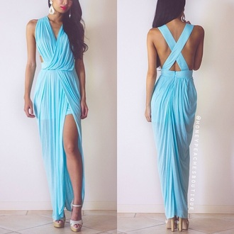 dress cross back backless blue dress backless prom dress